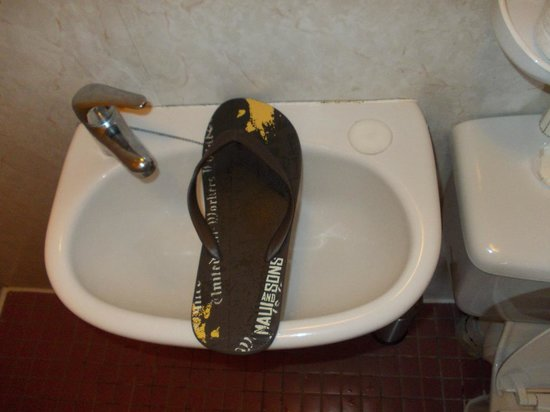 Winrose Hotel: The unbelievable basin: this is my flip-flop and I'm not a giant. My UK size shoe is 11.