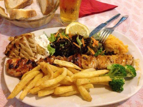 Zorbas: Chicken Souvlaki, one of best in Greece