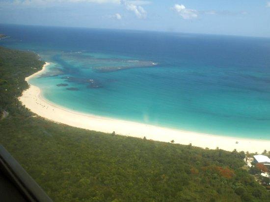 Flamenco Beach seen from an airplane (Playa Flamenco)