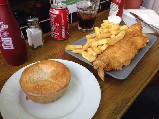 Baileys Fish and Chips: Crispy fish and chips and the pie