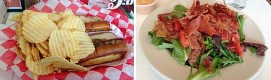 Rocky's Grill & Soda Shop: Kosher hot dogs and salad at Rocky's Soda Shop