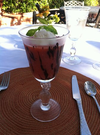 Casa Sedona Inn: Strawberry smoothie with homemade vanilla bean ice cream
