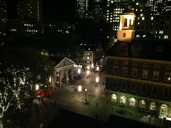The Bostonian Boston: Nighttime view of Faneuil Hall from the Penthouse Balcony