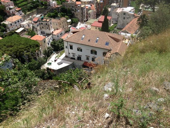 Looking down on Villa Lara from the walk down from Pogerola