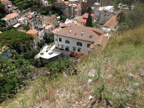 Looking down on Villa Lara from the walk down from Pogerola