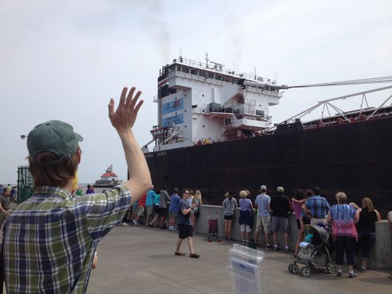 Lakewalk: Freighter going through ship channel