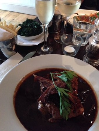 Zaza Ruislip: Calves Livers medium cooked to melt in the mouth with Pancetta served with Garlic Spinach, washe