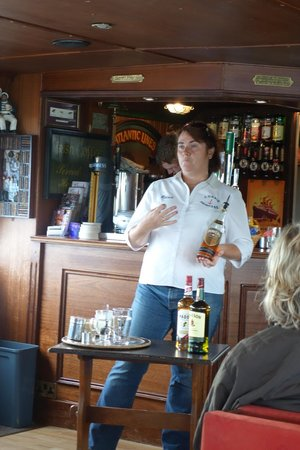 Corrib Princess River Cruise : Roisin-- who is a champion Irish Coffee maker- revealing her secrets. She was great!