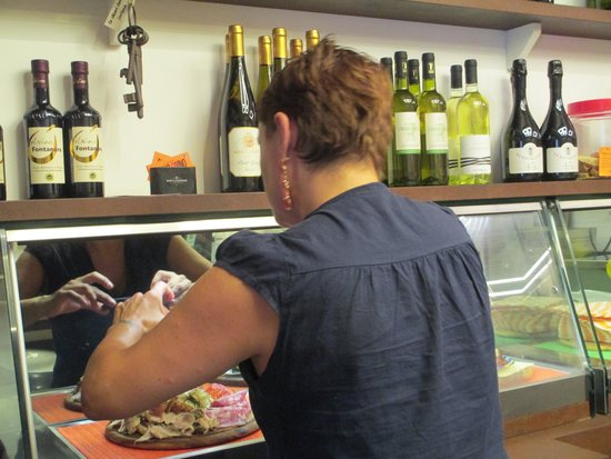 Panino Divino: owners wife getting snack trays ready