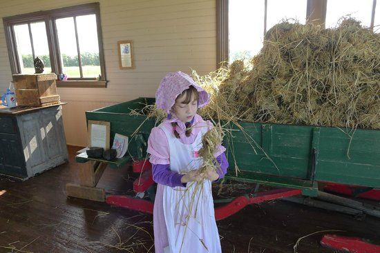 Ingalls Homestead - Laura's Living Prairie : Twisting hay into hay sticks for fuel.