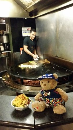 The Mongolian Barbeque: Our travelling bear waiting his turn