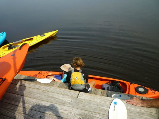 Coastal Explorations: Clair helping someone into their kayak.  Very easy!