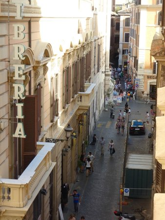 Hotel delle Nazioni: That's the (empty) Trevi Fountain poking out at the end of the block.