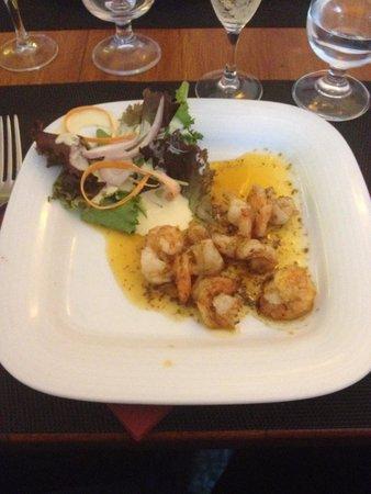 Bistro: Shrimp salad starter. Aug 2014