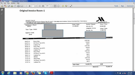 Marriott Cancun Resort: Original Receipt with Correct Charges