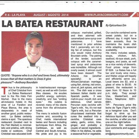 La Batea Restaurante: Playa Community Article August