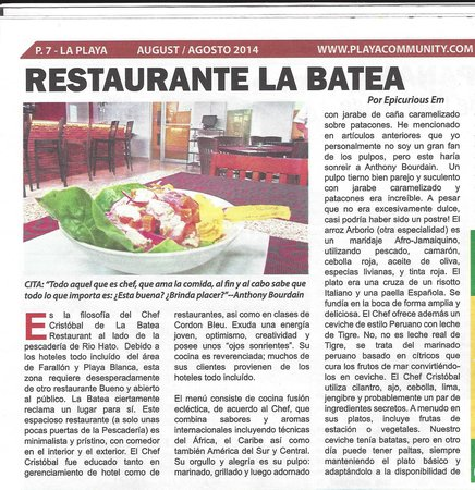 La Batea Restaurante: Articulo Playa Community