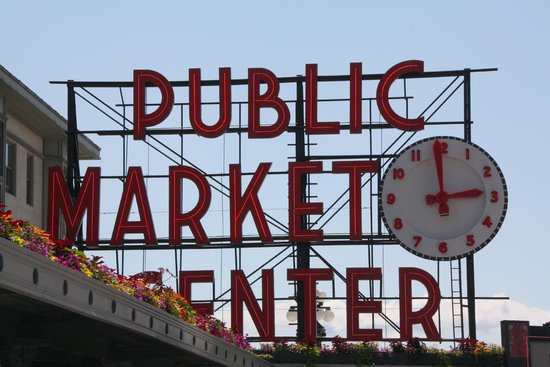Pike Place Market: Get your picture at the intersection with the sign in the background