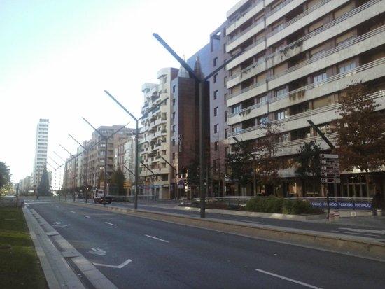 Mercure Carlton Rioja: El hotel y la calle donde se halla.