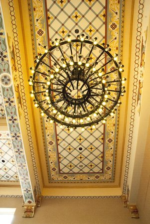 The Great Overland Station: ceiling and reproduction of original chandeliers