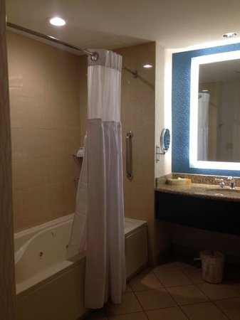 Harrah's Cherokee Casino Resort: Shower with jacuzzi tub.