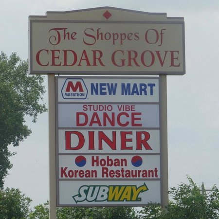 Strip mall sign advertising Hoban and adjacent establishments