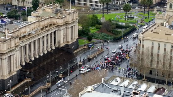 Oaks on Lonsdale: View straight down from Balcony (Protest happening)