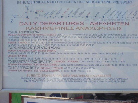 Dimitrion Hotel: знаменитое расписание автобусов