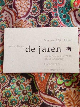 Cafe de Jaren : Визитная карточка ресторана