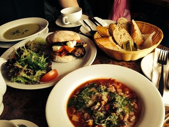 Francine's: Soup of the day & pesto soup with a roasted vegetable sandwich