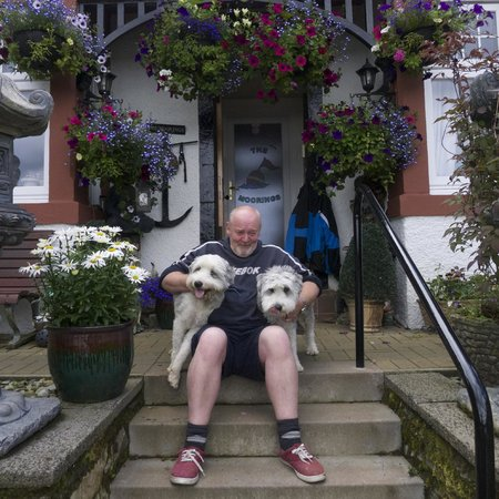 The Moorings: Andrew and his dogs Skye and Heidi