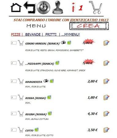 Copertino, Italie : schermata 'menu' per ordinare dalla APP di pizzaAPP!