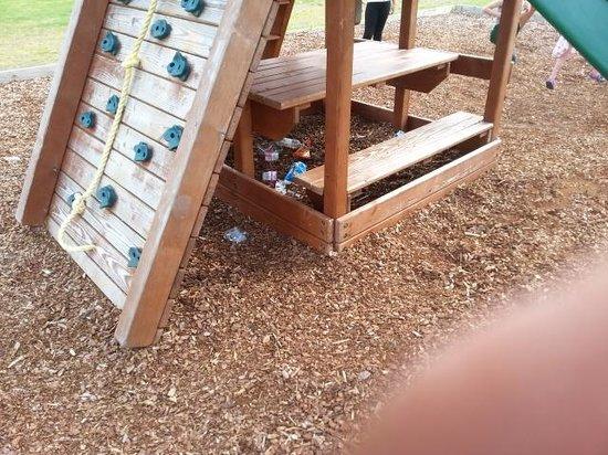 Lyons St Mary's Holiday Park: litter strewn play area