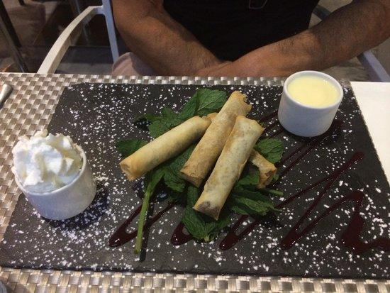 G-Square : Dessert : nems au chocolat, très bon