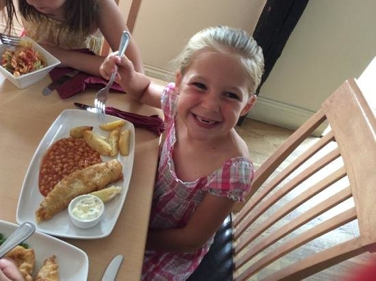 The Three Horseshoes: kids fish and chips! (partly eaten....)