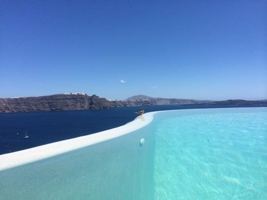 Pezoules: A small guest at the infinity pool!