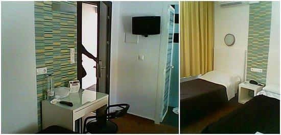 Hostal Restaurante EstaciÓN: Habitación, vista izquierda desde el cabecero de las camas