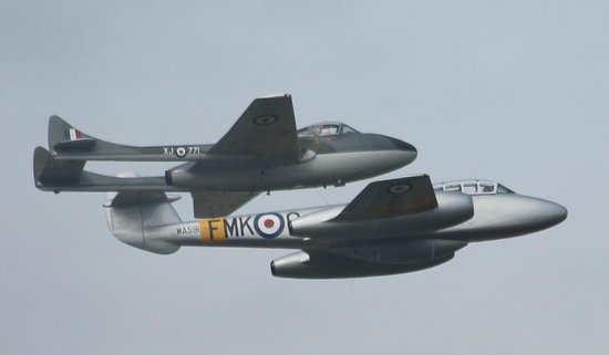 Classic Air Force: Vampire and Meteor just a few feet apart at Culdrose aird day