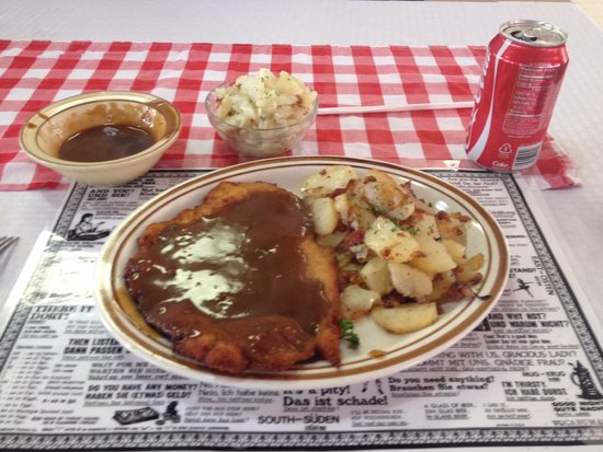 Franken Stube Wiener Schnitzel W Fried Potatoes And Onions And German Potato Salad