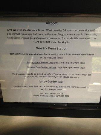 Best Western Plus Newark Airport West: Shuttlebus