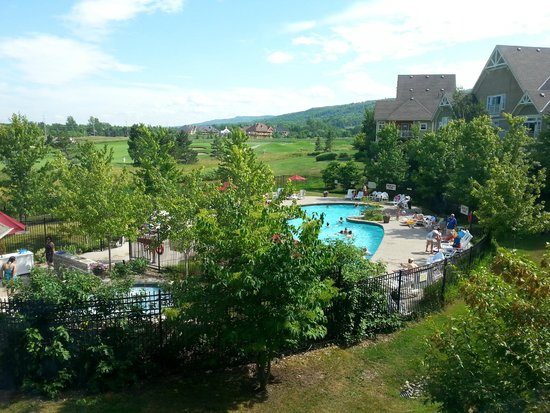 Blue Mountain Rivergrass: looking out from unit # 221 to the pool/hot tub