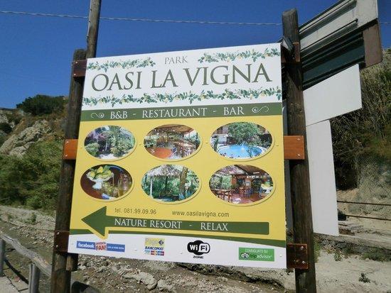 Oasi la Vigna B&B Restaurant: Указатель на пляже Маронти