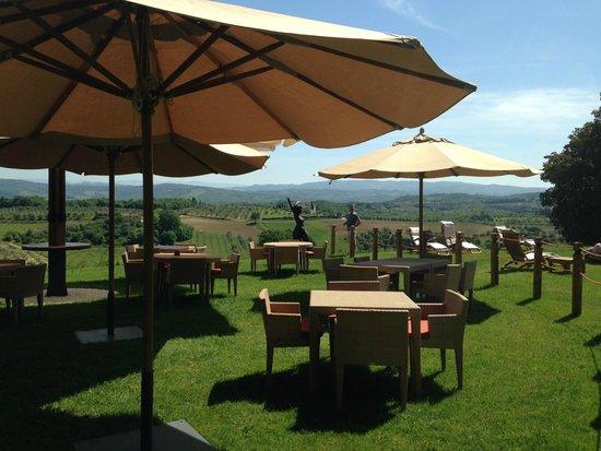 Castello del Nero Boutique Hotel & Spa: Sitting near the pool..food, drink, A+ service
