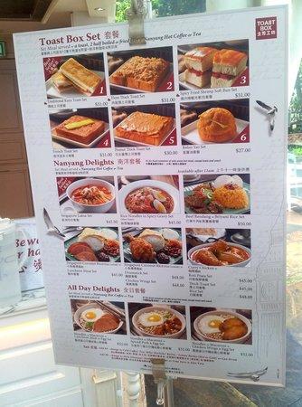 Toast Box - order menu