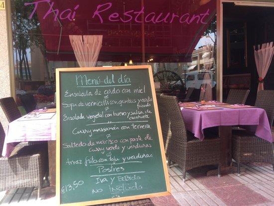 Tilak Restaurant: Example Menu del Diá in August 2014