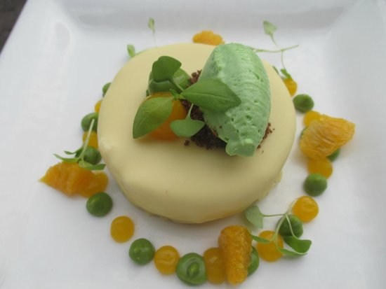 Restaurant Envy: white chocolate covered cake with lime avocado ice cream