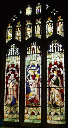 Launde Abbey: A stained glass window on the south side