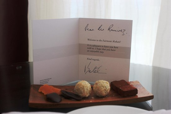 Fairmont Makati: Welcome note