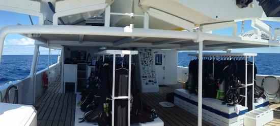 Cocos Island: Dive deck of the Sea Hunter