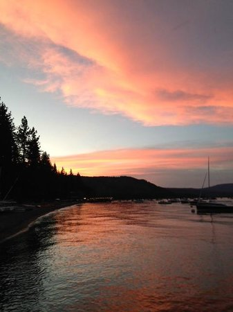 The Lodge at Obexer's: Lake Tahoe sunset at Obexer's Marina, across the street from the Lodge